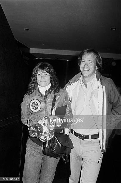 Susan Saint James with Dick Ebersol She is wearing a leather jacket circa 1970 New York