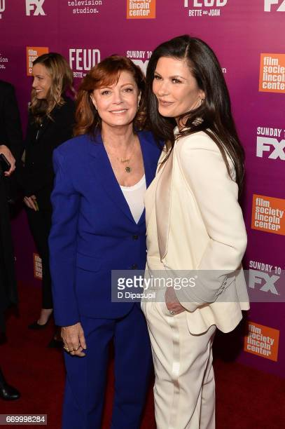 Susan Sarandon and Catherine ZetaJones attend the Feud Bette and Joan NYC Event at Alice Tully Hall at Lincoln Center on April 18 2017 in New York...