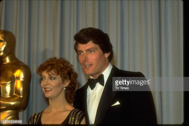 Susan Sarandon and Christopher Reeve photographed at the 55th Academy Awards in Los Angeles, on April 11, 1983.