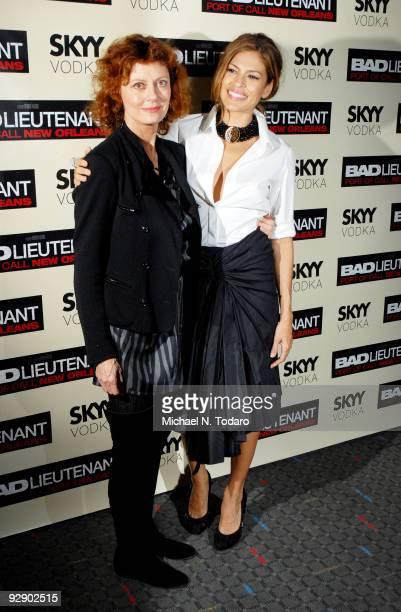 Susan Sarandon and Eva Mendes attend a screening of 'Bad Lieutenant' at the SVA Theater on November 8 2009 in New York City