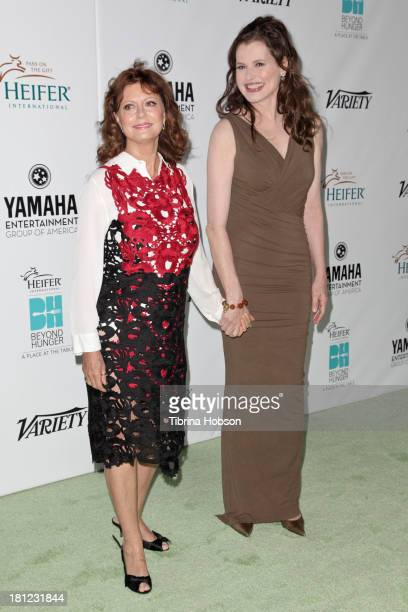 Susan Sarandon and Geena Davis attend Heifer International's 'Beyond Hunger A Place At The Table' gala at Montage Beverly Hills on September 19 2013...