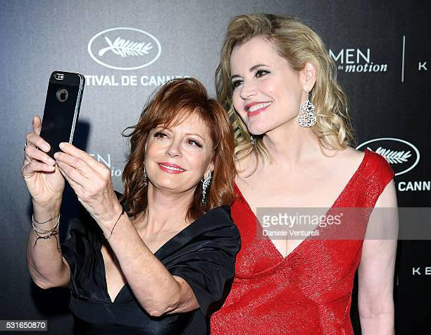 Susan Sarandon and Geena Davis attend the Kering And Cannes Film Festival Official Dinner at Place de la Castre on May 15 2016 in Cannes France
