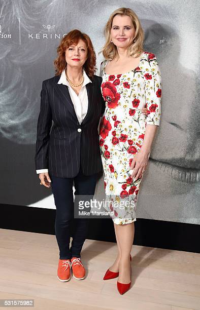 Susan Sarandon and Geena Davis attend the Kering Women in Motion talk with Susan Sarandon Geena Davis Madeline Di Nonno during the The 69th Annual...