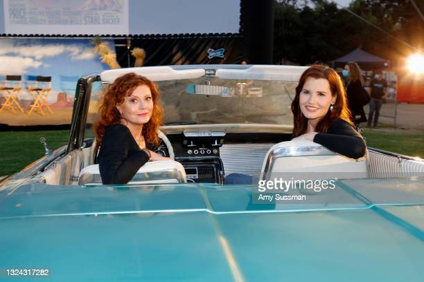 """Susan Sarandon and Geena Davis attend """"Thelma And Louise"""" 30th Anniversary drive-in charity screening experience hosted by MGM and Cinespia at The..."""