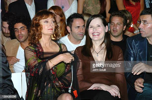 Susan Sarandon and Geena Davis during 2nd Annual Lingerie Art Auction and Fashion Show Hosted by Fredericks of Hollywood Show at Hollywood Roosevelt...
