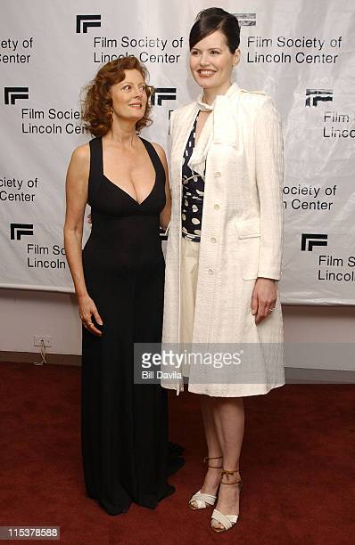 Susan Sarandon and Geena Davis during The Film Society of Lincoln Center Honors Susan Sarandon at Avery Fisher Hall in New York City New York United...