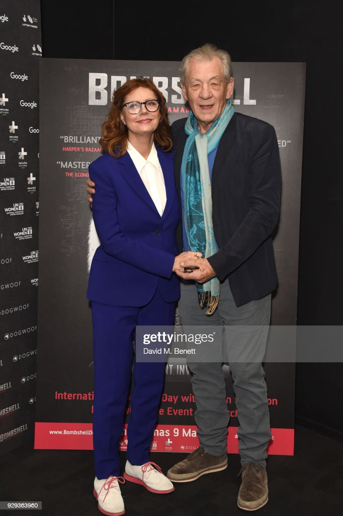 Susan Sarandon (L) and Ian McKellen attend a special screening of 'Bombshell: The Hedy Lamarr Story' at BFI Southbank on March 8, 2018 in London, United Kingdom.