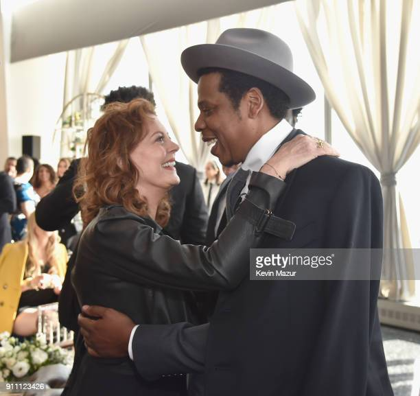 Susan Sarandon and JayZ attend Roc Nation THE BRUNCH at One World Observatory on January 27 2018 in New York City