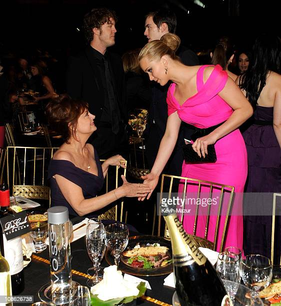Susan Sarandon and Jennifer Lawrence attends the TNT/TBS broadcast of the 17th Annual Screen Actors Guild Awards held at The Shrine Auditorium on...