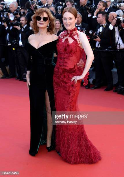 Susan Sarandon and Julianne Moore attend the 'Ismael's Ghosts ' screening and Opening Gala during the 70th annual Cannes Film Festival at Palais des...