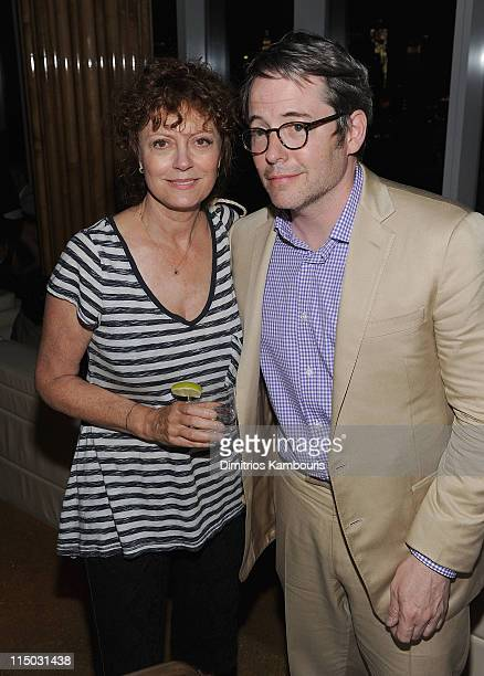 Susan Sarandon and Matthew Broderick attend the after party for the Gucci Cinema Society the Film Foundation screening of La Dolce Vita at the Top of...