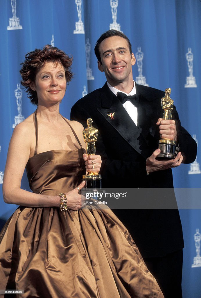 Susan Sarandon and Nicolas Cage during The 68th Annual Academy Awards at Dorothy Chandler Pavilion in Los Angeles, California, United States.