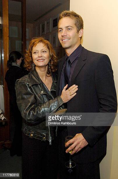 Susan Sarandon and Paul Walker during 'Noel' New York City Premiere After Party at Chanterelle in New York City New York United States