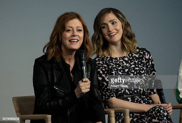 """Susan Sarandon and Rose Byrne attend the """"The Meddler"""" panel at Apple Store Soho on April 20, 2016 in New York City."""