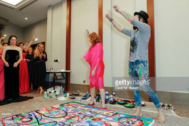 Susan Sarandon and Sacha Jafri attend the Artists for Peace and Justice Bovet 1822 Gala on December 7 2018 in Dubai United Arab Emirates Photo by...