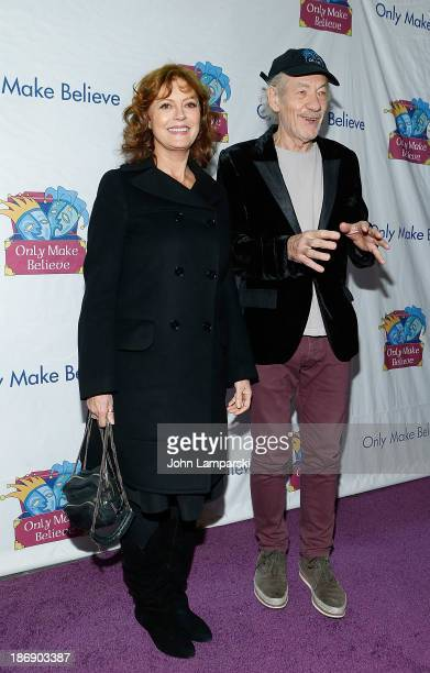 Susan Sarandon and Sir Ian McKellan attend the 14th annual Make Believe On Broadway gala>> at The Bernard B Jacobs Theatre on November 4 2013 in New...