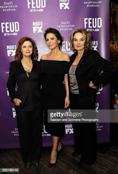 Susan Sarandon Catherine Zeta Jones and Jessica Lange attends the Feud Tastemaker Dinner at The Monkey Bar on February 13 2017 in New York City