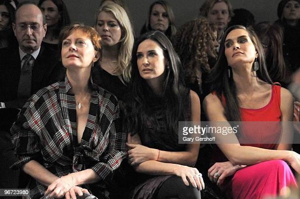 Susan Sarandon Demi Moore and Brooke Shields attend Donna Karan Collection Fall 2010 during MercedesBenz Fashion Week at 711 Greenwich Street on...