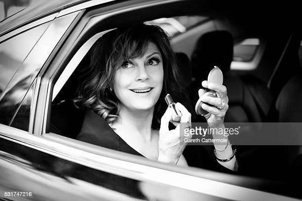 Susan Sarandon departs the Martinez Hotel during the 69th annual Cannes Film Festival on May 12 2016 in Cannes France