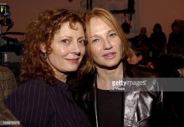 Susan Sarandon Ellen Barkin during MercedesBenz Fashion Week Diane von Furstenberg 2002 Fall Collection at 389 West 12th in New York City New York...