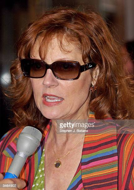 Susan Sarandon interviews with the media before the start of the Planned Parenthood 'Stand Up For Choice' Extravaganza on April 24 2004 in Washington...
