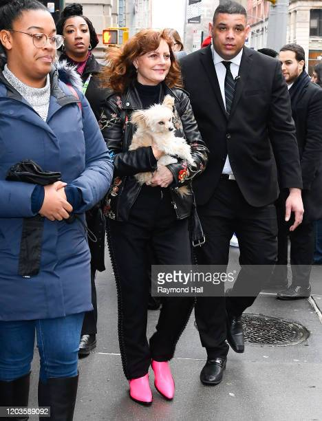 Susan Sarandon is seen outside Build Studio on February 26 2020 in New York City