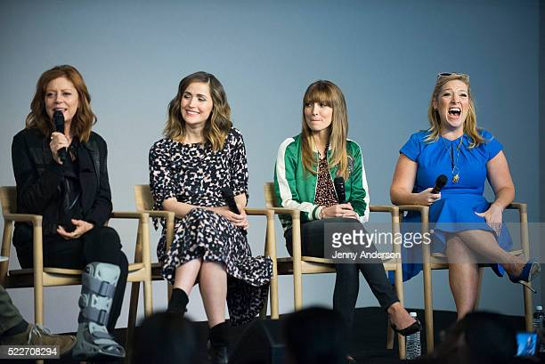 Susan Sarandon Rose Byrne Lorene Scafaria and Joy Gorman Wettels discuss their new film The Meddler at Apple Store Soho on April 20 2016 in New York...