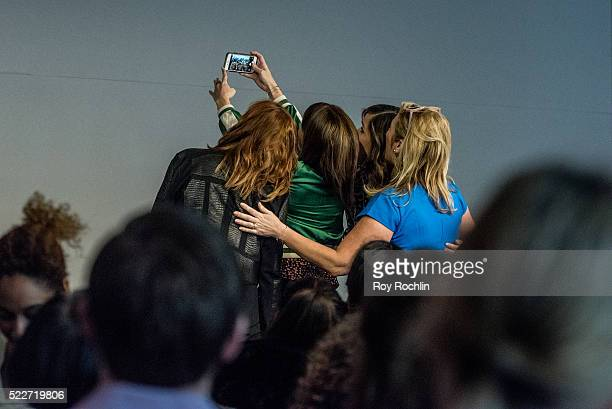 Susan Sarandon Rose Byrne Lorene Scafaria and Joy Gorman Wettels discuss The Meddler at Apple Store Soho on April 20 2016 in New York City