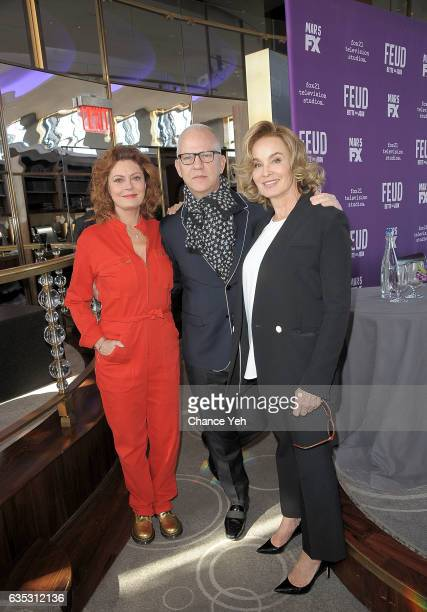 Susan Sarandon Ryan Murphy and Jessica Lange attend Feud Tastemaker lunch at The Rainbow Room on February 14 2017 in New York City