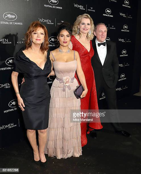 """Susan Sarandon, Salma Hayek Pinault, Geena Davis and Francois-Henri Pinault attend the """"Women in Motion"""" Prize Reception part of The 69th Annual..."""