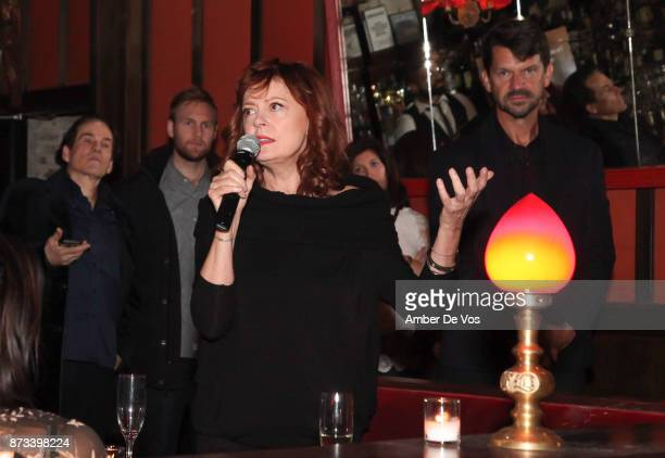 """Susan Sarandon speaks at """"The Soufra Cookbook"""" Launch Party co-hosted by Rebelhouse Group and Susan Sarandon on November 12, 2017 in New York City."""