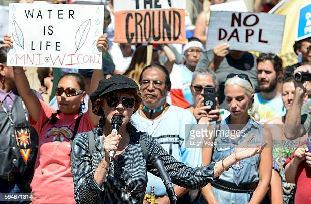 Susan Sarandon speaks during a rally in support of a lawsuit against The Army Corps Of Engineers to protect water and land from The Dakota Access...