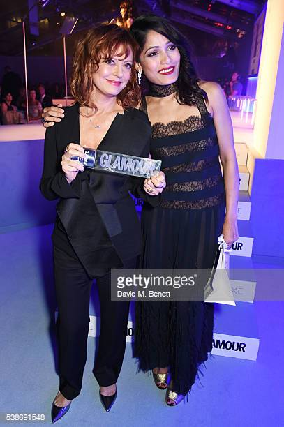 Susan Sarandon winner of the Glamour Inspiration award and presenter Freida Pinto attend the Glamour Women Of The Year Awards in Berkeley Square...