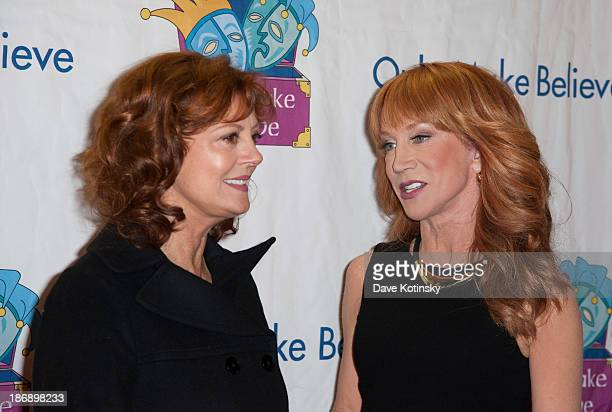 Susan Sarandonand Kathy Griffin attends the 14th Annual Make Believe On Broadway Gala at The Bernard B Jacobs Theatre on November 4 2013 in New York...