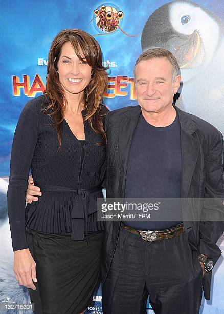 "Susan Schneider and Actor Robin Williams attend the ""Happy Feet Two"" Los Angeles Premiere at Grauman's Chinese Theatre on November 13, 2011 in..."