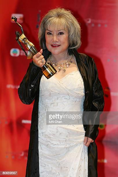 Susan Shaw wins the Best Supporting Actress award for the movie 'The PyeDog' at the 27th Hong Kong Film Awards at the Hong Kong Cultural Centre on...