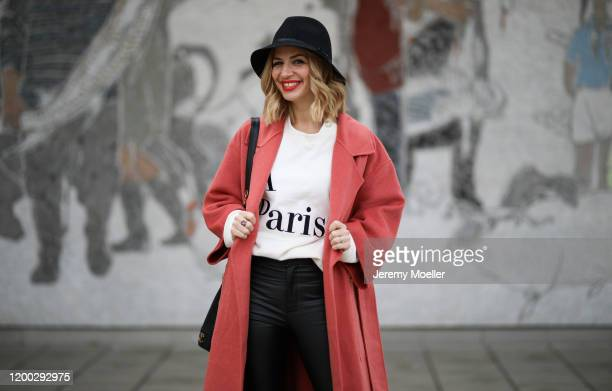Susan Sideropoulos wearing a Reserved coat during the Berlin Fashion Week Autumn/Winter 2020 on January 15, 2020 in Berlin, Germany.