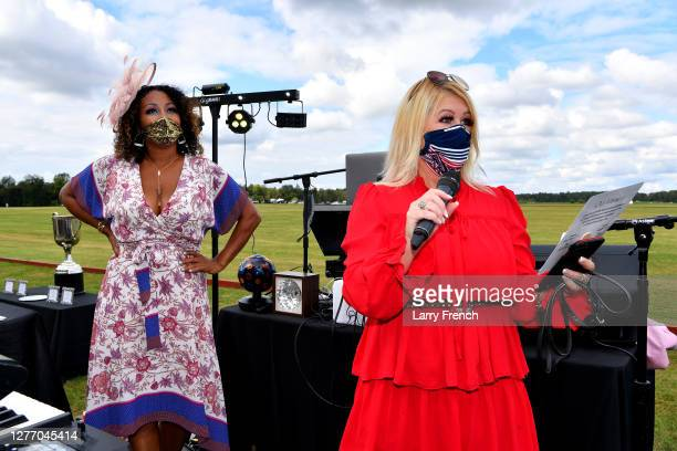 Susan Smallwood, producer of Grandiosity Events Cigars & Guitars Charity Polo & Jazz charity event and Kimberly Waterfield are seen at Grandiosity...