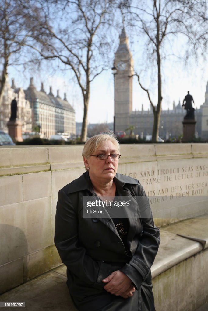 Susan Smith, the mother of Private Philip Hewett who was killed in Iraq in July 2005 when a Snatch Land Rover he was traveling in was blown up, is pictured outside the Supreme Court on February 18, 2013 in London, England. Ms Smith and the relatives of other soldiers killed in Iraq are bringing a case to the Supreme Court to determine whether they can sue the Government for damages under human rights law.