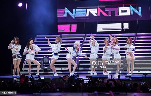 Susan Soonkyu Lee, Choi Soo-young, Im Yoona, Kim Hyo-yeon, Seo Ju-hyun, Tiffany Hwang, Kim Tae-yeon, and Kwon Yuri of Girls' Generation perform at...