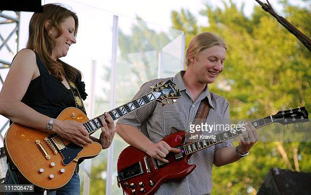 Susan Tedeschi and Derek Trucks perform on the Sherwood Court Stage during the Rothbury Music Festival 08 on July 5 2008 in Rothbury Michigan