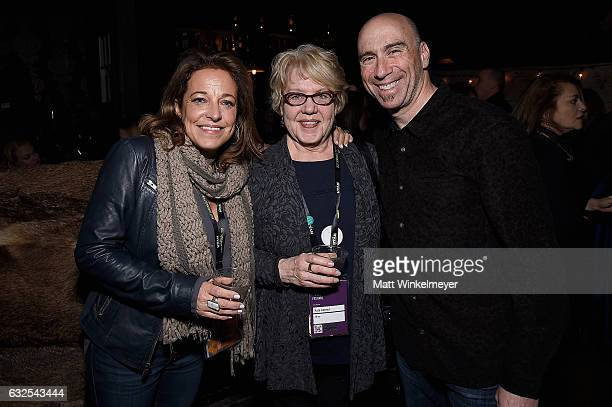 Susan Turley Kate Amend and composer and founder of Oovra Music Joel Goodman attend the Film Independent International Documentary Association Oovra...