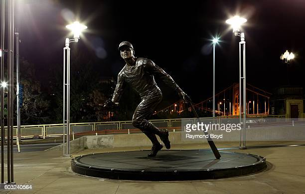 Susan Wagner's Roberto Clemente statue outside the center field entrance at the Roberto Clemente Bridge at night at PNC Park, home of the Pittsburgh...