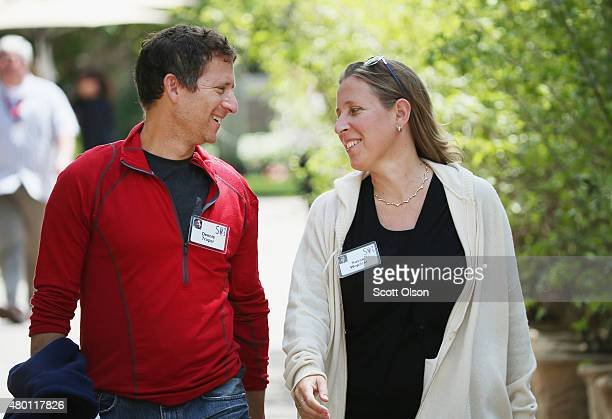 Susan Wojcicki, CEO of YouTube, and her husband Dennis Troper attend the Allen & Company Sun Valley Conference on July 9, 2015 in Sun Valley, Idaho....