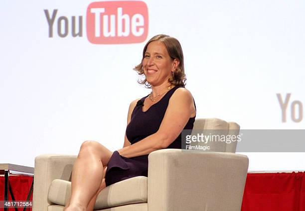 Susan Wojcicki, CEO of YouTube doing a fireside chat at #VidCon at Anaheim Convention Center on July 23, 2015 in Anaheim, California.