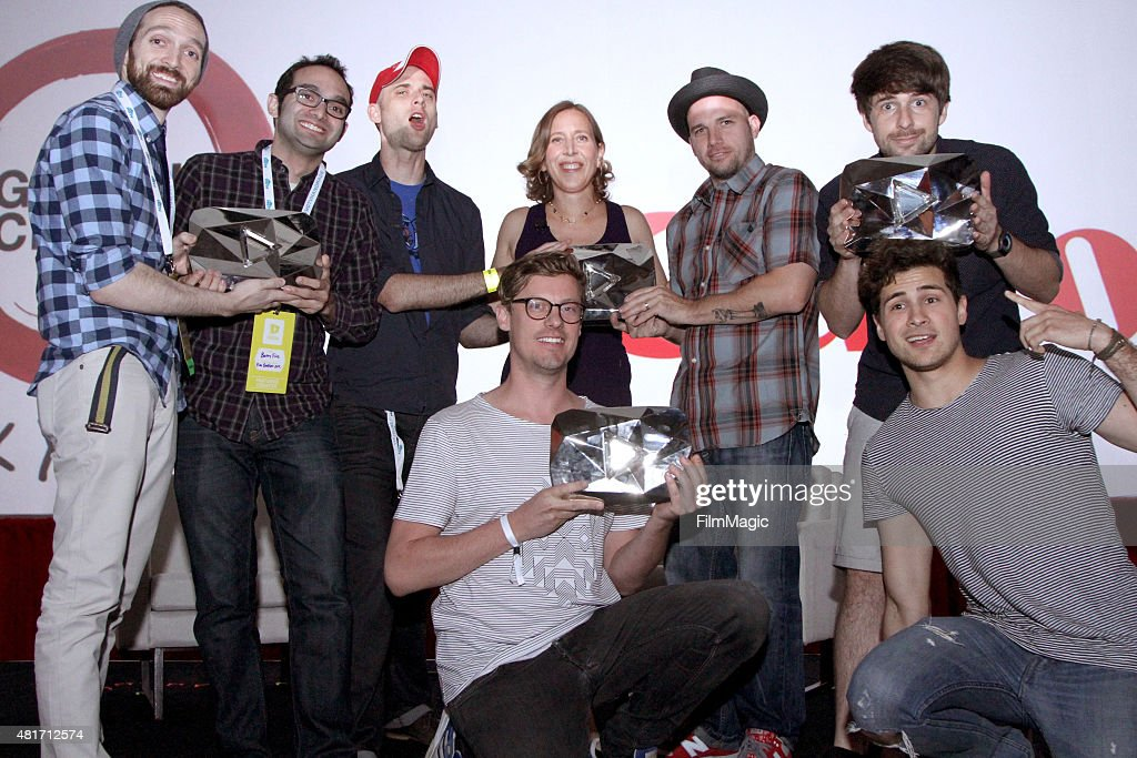 Susan Wojcicki, CEO of YouTube (C) gives the Fine Bros, ERB (Epic Rap Battles), Smosh, and Spinning Records the Diamond Award for achieving over 10 million subscribers on YouTube at #VidCon at Anaheim Convention Center on July 23, 2015 in Anaheim, California.