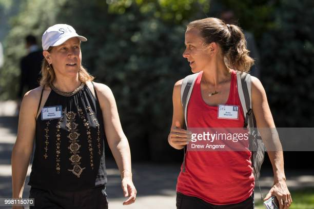 Susan Wojcicki chief executive officer of YouTube and Anne Wojcicki cofounder and chief executive officer of 23andMe attend the annual Allen Company...