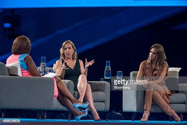 Susan Wojcicki chief executive officer of YouTube Inc center speaks as Actress Jessica Alba cofounder of The Honest Co right listens during the...