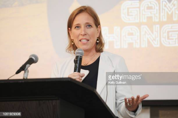 Susan Wojcicki speaks at Room To Read 2018 International Day Of The Girl Benefit at One Kearny Club on October 11 2018 in San Francisco California