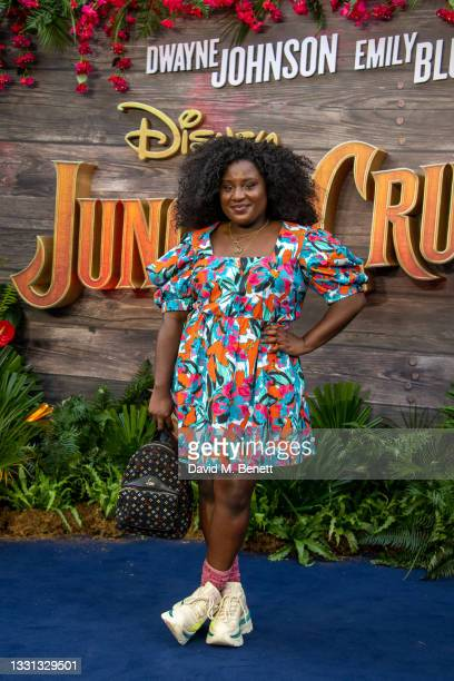 """Susan Wokoma attends the London Premiere of Disney's """"Jungle Cruise"""" at Cineworld Leicester Square on July 29, 2021 in London, England."""